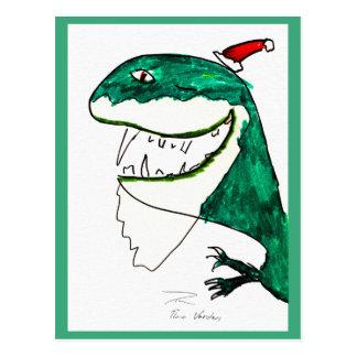Postal del navidad T-Rex-Mas