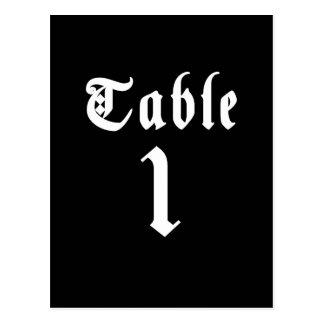 Postal del número de la tabla de la caligrafía