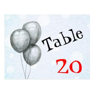 Postal del número de la tabla de los globos