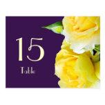 Postal del número de la tabla de los rosas amarill