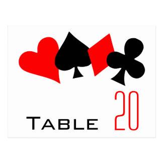 Postal del número de la tabla del póker