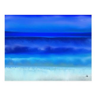 Postal del océano de la noche del arte popular