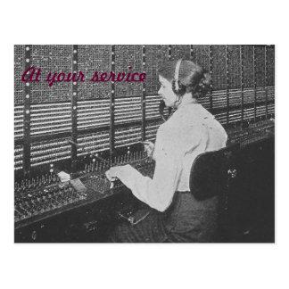 Postal del operador de centralita telefónica del t