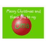 Postal del ornamento del navidad de Oma