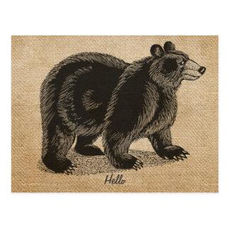 Postal del oso del vintage de la arpillera hola