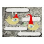 Postal del pájaro de Papá Noel diciembre de las fe
