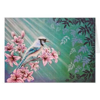 Postal del pájaro del arrendajo azul de la majesta felicitación