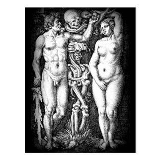 Postal del pecado original de Adán y de Eva