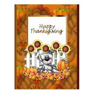 Postal del perrito del Día de Acción de Gracias