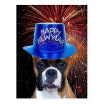 Postal del perro del boxeador de la Feliz Año Nuev