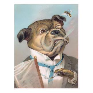 Postal del perro del negocio del vintage