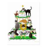 Postal del personalizable del árbol del gato del