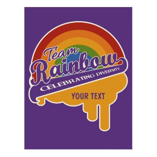 Postal del personalizado del arco iris del equipo