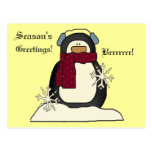 Postal del pingüino del navidad
