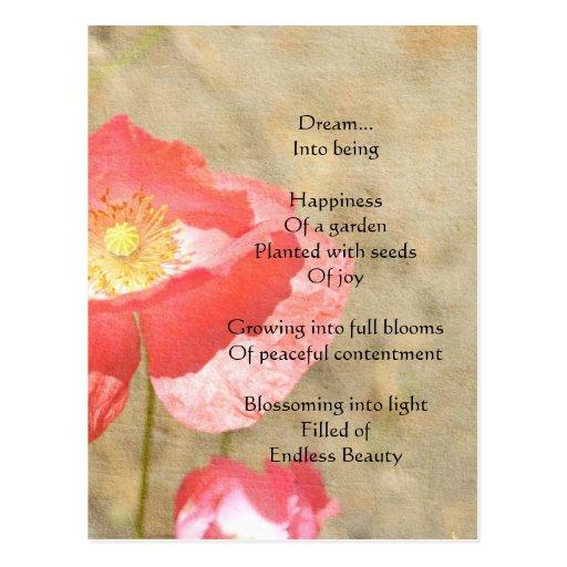Postal del poema de la felicidad de las expresione