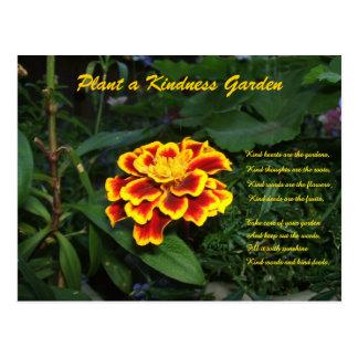 Postal del poema del jardín de la amabilidad