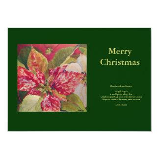 """Postal del Poinsettia de las Felices Navidad Invitación 4.5"""" X 6.25"""""""