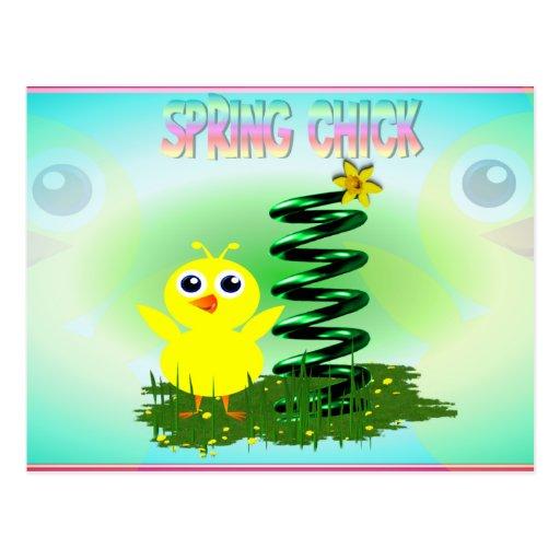 Postal del polluelo de la primavera