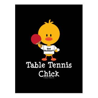Postal del polluelo de los tenis de mesa