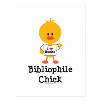 Postal del polluelo del bibliófilo