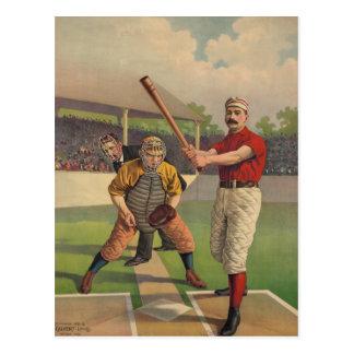 Postal del poster del béisbol del vintage
