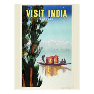 Postal del poster del viaje de la India