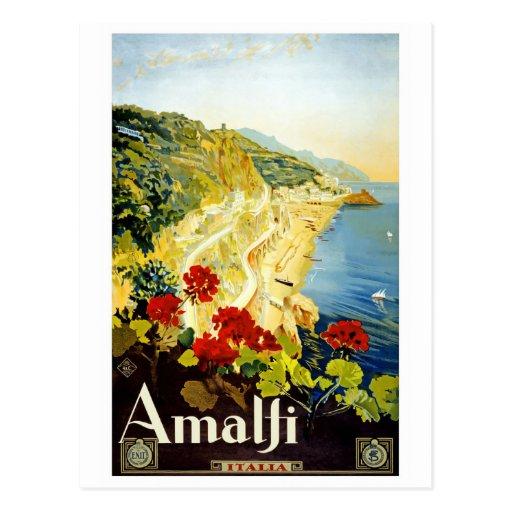 "Postal del poster del viaje del vintage de ""Amalfi"