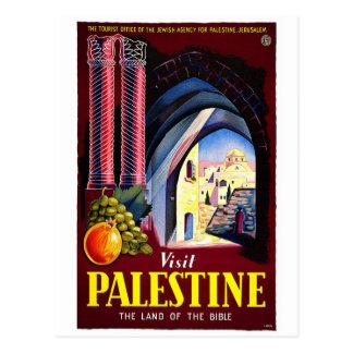 Postal del poster del viaje del vintage de Palest