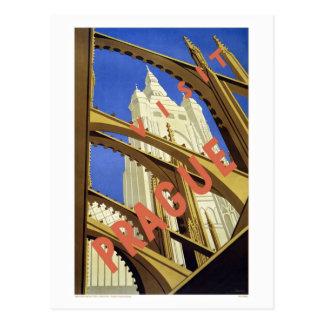 """Postal del poster del viaje del vintage de """"Praga"""""""