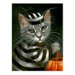Postal del preso de Halloween del gato de Tabby