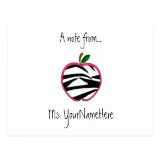 Postal del profesor - estampado de zebra Apple