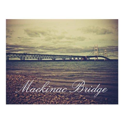 Postal del puente de Mackinac del vintage
