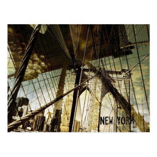 Postal del puente de Nueva York, Brooklyn para la