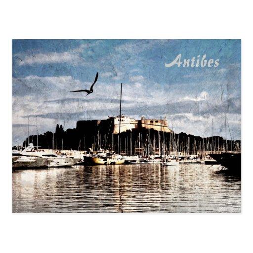 Postal del puerto de Antibes