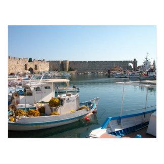 Postal del puerto de Rodas Grecia