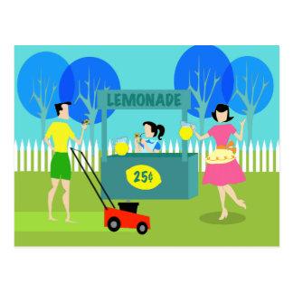 Postal del puesto de limonadas de los niños retros