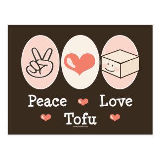 Postal del queso de soja del amor de la paz