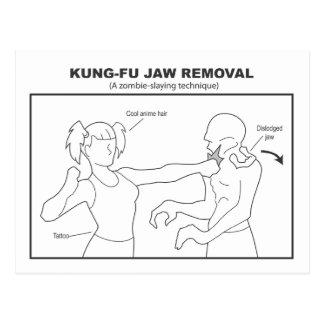 Postal del retiro del mandíbula de Kung-Fu
