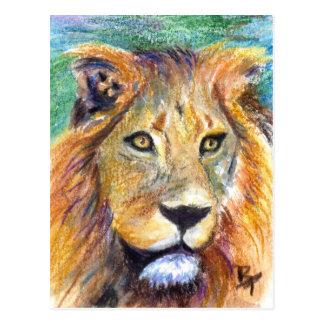 Postal del retrato ACEO del león