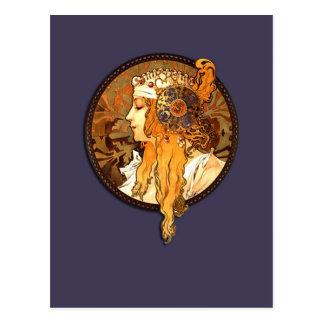Postal del retrato de Nouveau del arte de Mucha