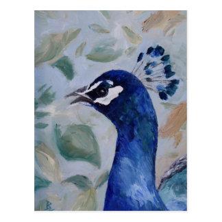 Postal del retrato del pavo real