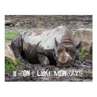 Postal del rinoceronte que se enfurruña