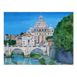 Postal del río de Tíber de la basílica de San Pedr