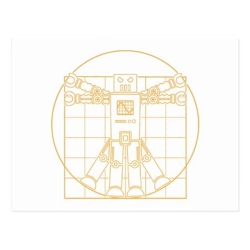 Postal del robot de da Vinci Vitruvian
