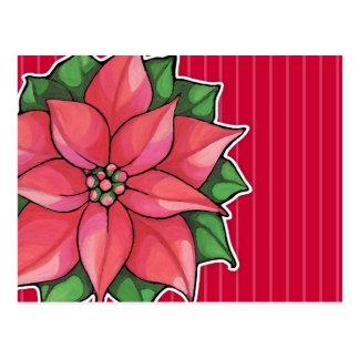 Postal del rojo de la alegría del Poinsettia