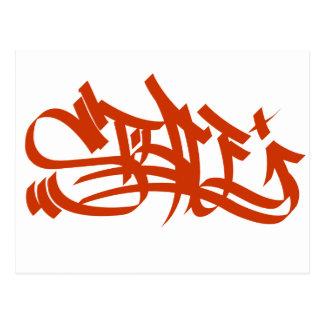 postal del rojo del marcador del estilo