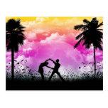 Postal del romance de Palmtree