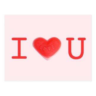 """Postal del rosa """"amo U"""" del amor"""