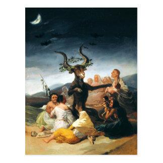 Postal del Sabat de las brujas de Goya