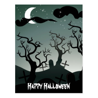 Postal del saludo de Halloween del cementerio